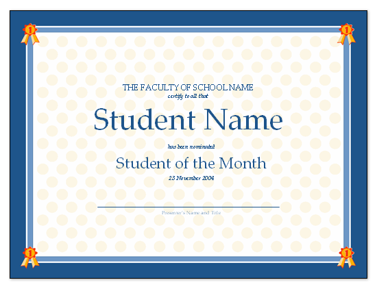 Templates certificates certificate for student of the for Student of the year award certificate templates