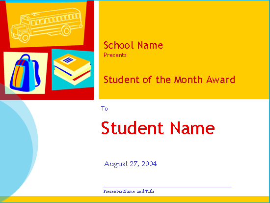 Student Of The Month Award (high School)