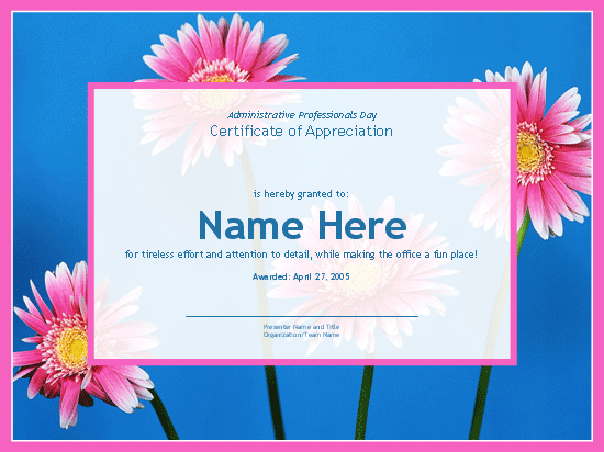 Certificate For Administrative Professional (photo Background)