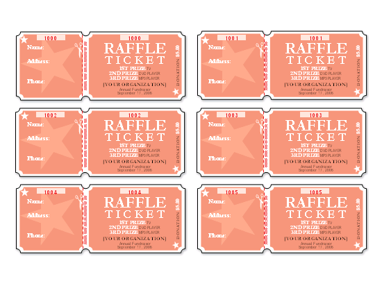 Raffle Tickets (6 Per Page)