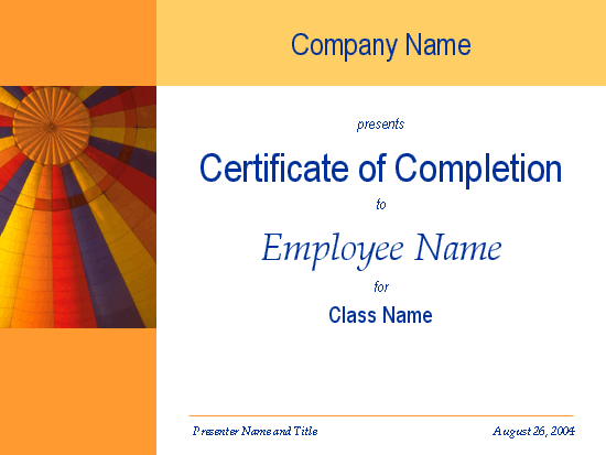 Certificate Of Training Completion