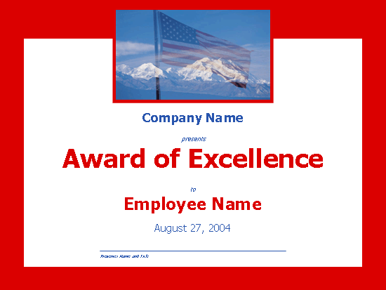 Excellence Award (with Mountains)