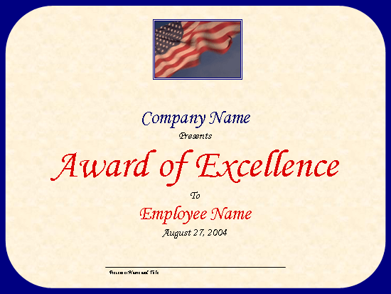 Excellence Award (with U.s. Flag And Sky)