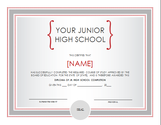 Middle School Diploma Certificate Template Datariouruguay