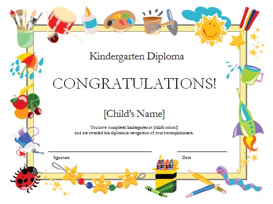 Templates certificates kindergarten diploma certificate for Pre k award certificate templates