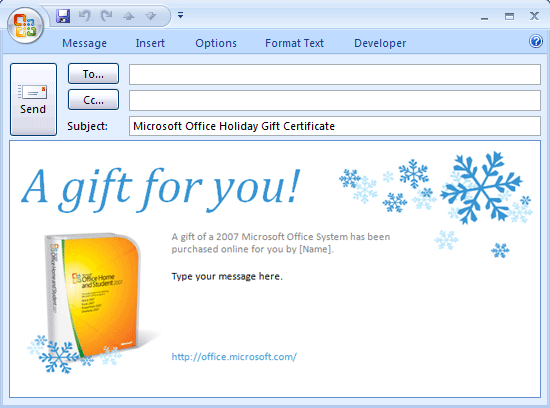 E-mail Message: Microsoft Office Gift Certificate