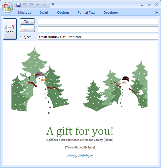 E-mail Message: Holiday Gift Certificate