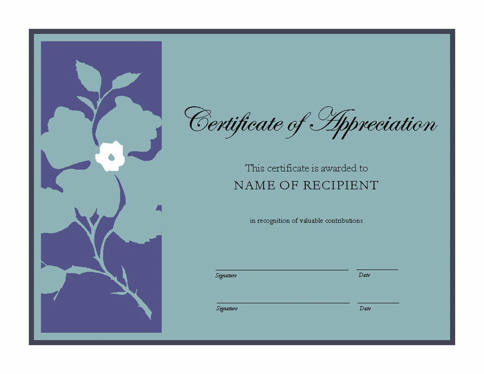 Appreciation certificate of recognition template for Certificate of appreciation template free