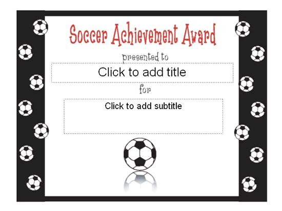 Soccer Achievement Award Certificate