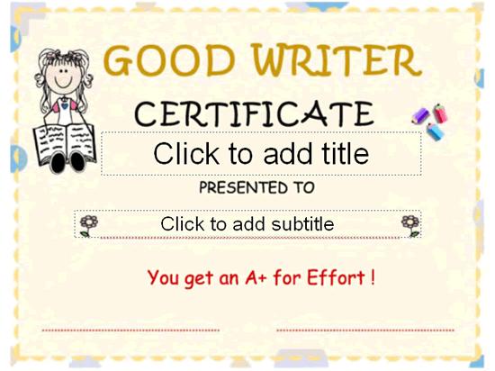 Good Writer Award Certificate