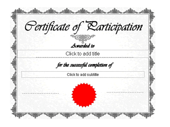 Certificate of participation template new calendar for Certificate of participation template