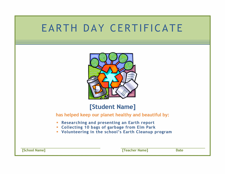 Earth Twenty-four Hours Certificate