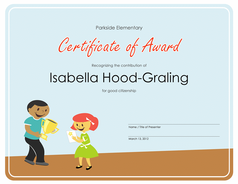 Certificate Of Awarding (simple Pupil)