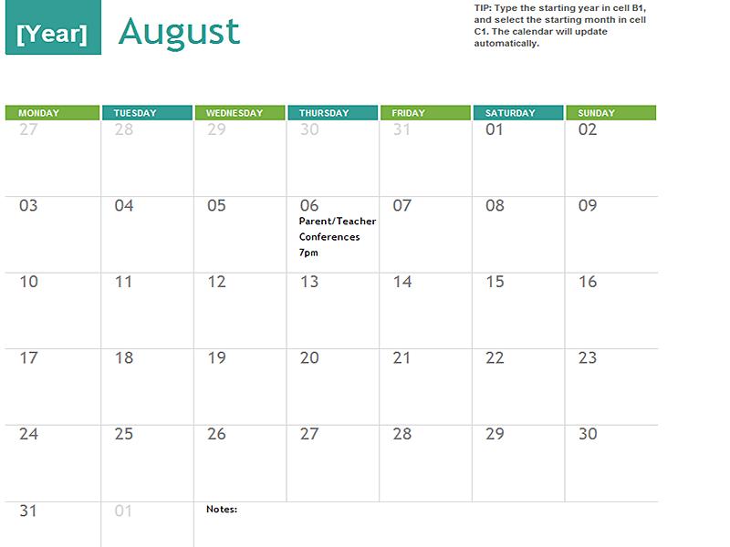 Multi Year Academic Calendar