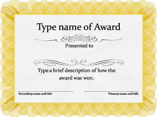 free award template – Free Award Certificate Templates for Word