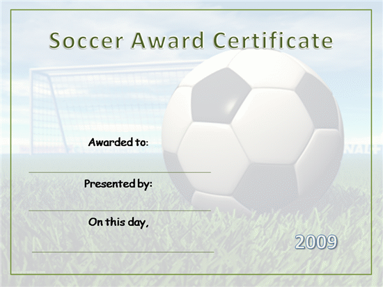 soccer certificates template