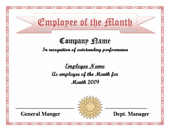 Employee of the month word template employee of the month employee month certificate template yelopaper Gallery