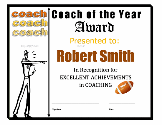 Templates Certificates Coach Of The Year Football Sports Award