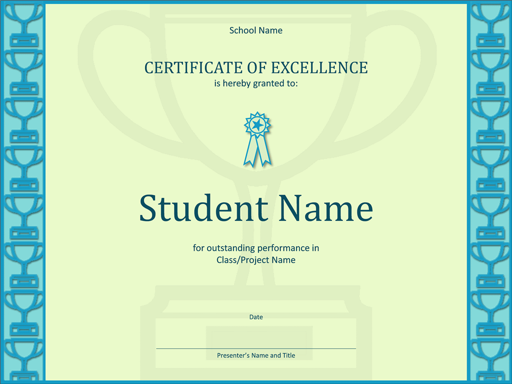 Certificate Of Excellency For Pupil