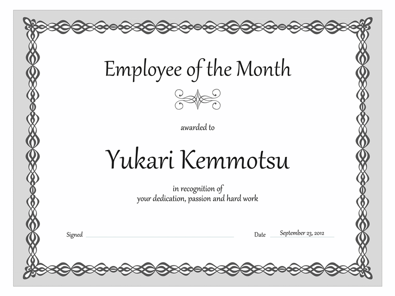 Certificate, Worker Of The Calendar Calendar Calendar Calendar Month (grey Concatenation Designing)