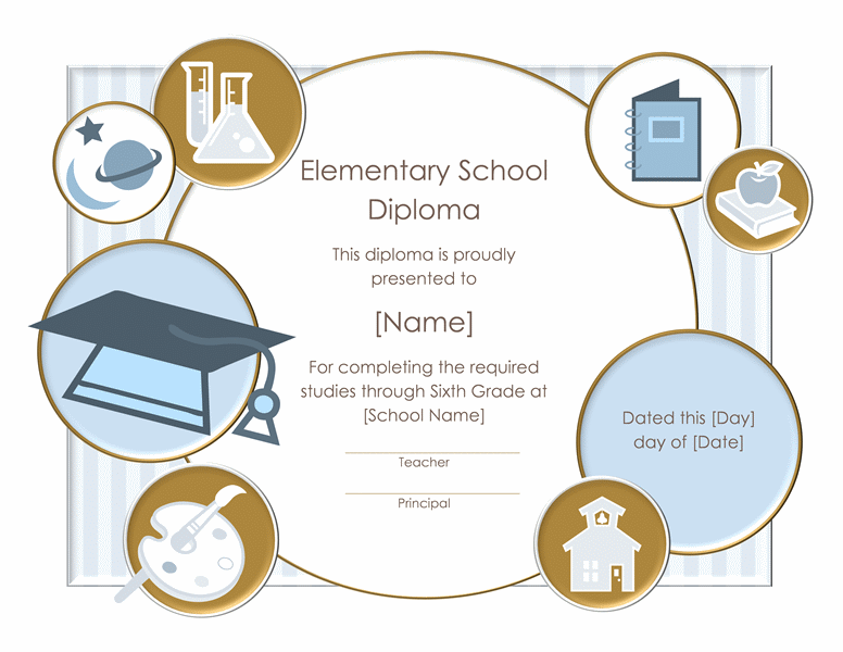 School Diploma Certificate For Elementary Grade