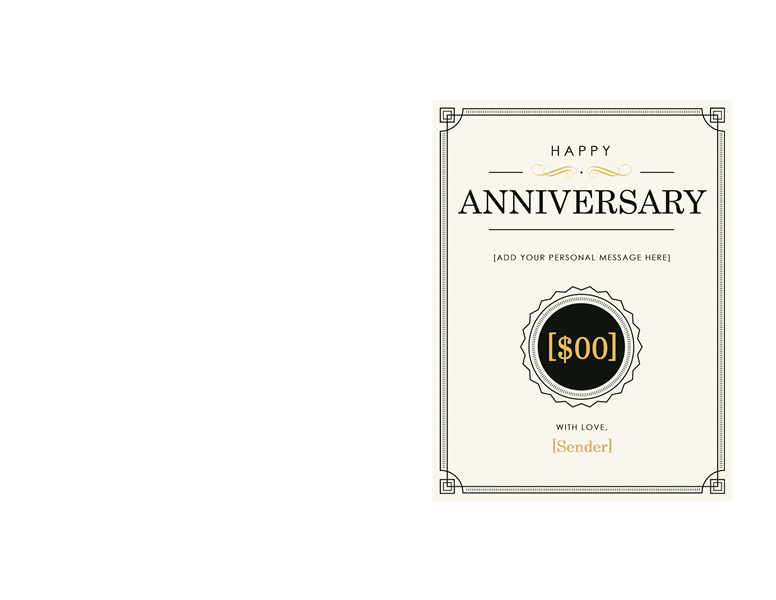 Anniversary Gift Certificate Template Word 2003