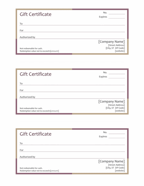 Free Gift Certificates In Multi-color Theme