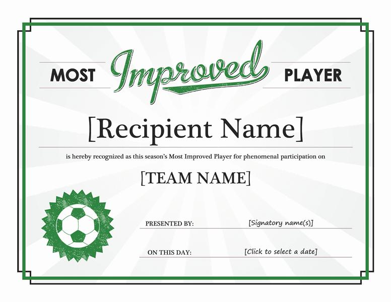 Most Better Participant Awarding Certificate