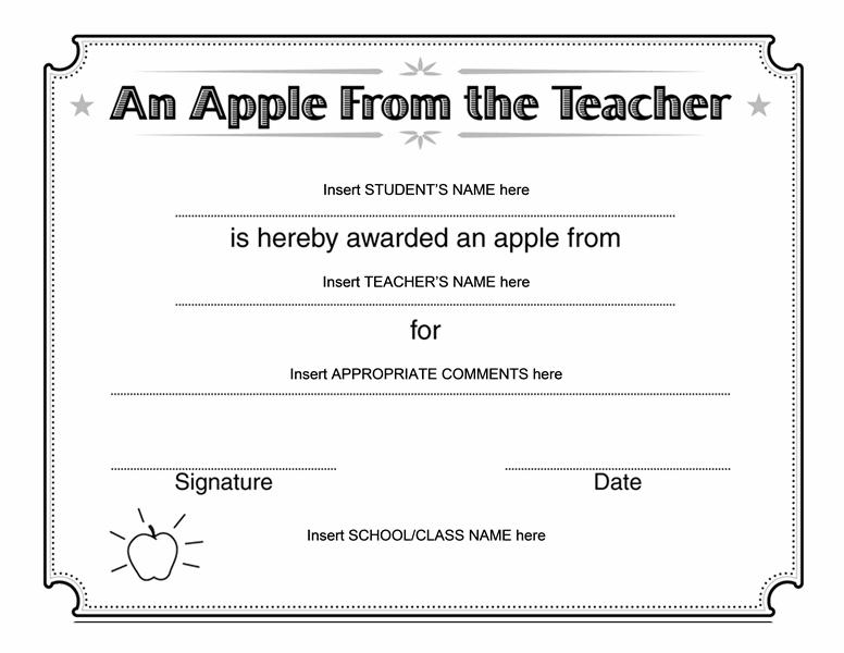 Apple From Teacher Certificate