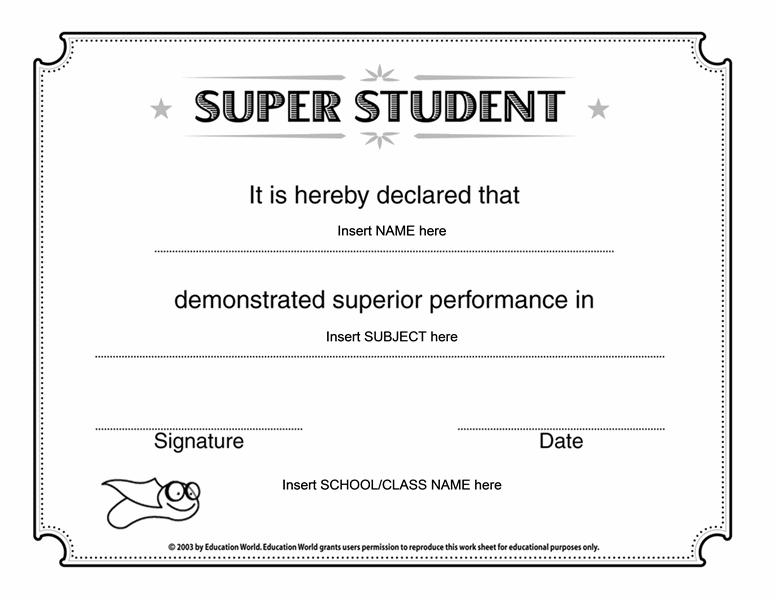 Super Student Certificate