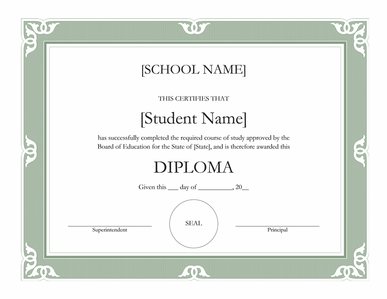 Templates certificates fancy high school diploma for High school certificate template