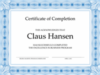 Certificate Of Pass Pass Completion (bluish)