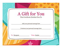 Birthday Gift Certificate Template Word 2010
