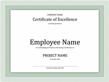 Certificate Of Excellency For Worker