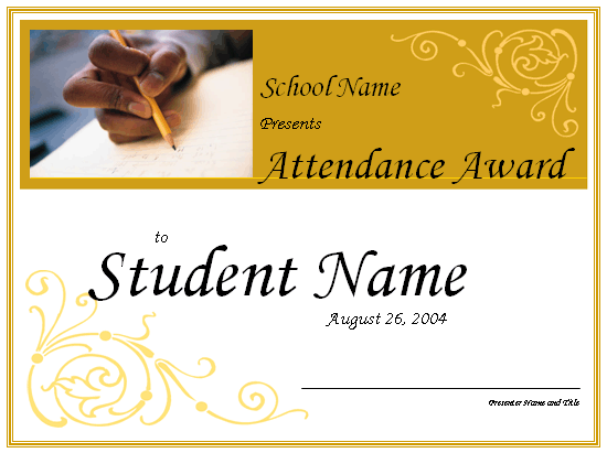 Attendance Award High School Free Certificate Templates In