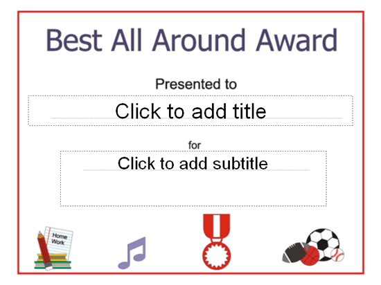 Best All Around Award Certificate Free Certificate Templates In
