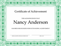 Certificate Of Accomplishment (greenish)