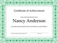 Certificate Of Accomplishment (greenish)