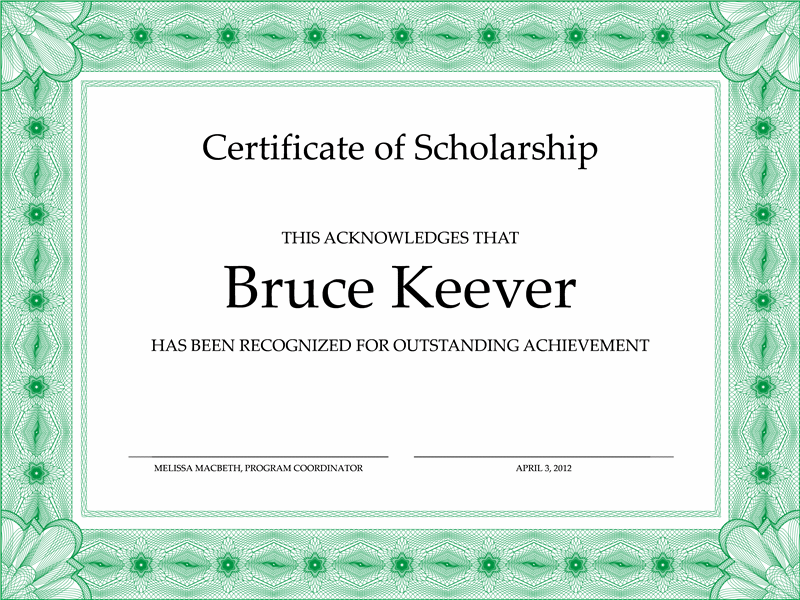 certificate of eruditeness conventional greenishish boundary line