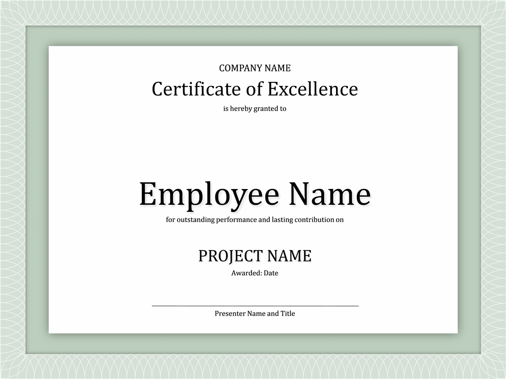 certificate of excellence for employee free certificate templates