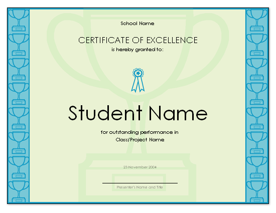 Certificate Of Excellence For Student. «  Certificates Of Excellence Templates