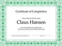 Certificate Of Pass Pass Completion (greenish)