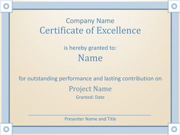 Certificate Of Worker Excellency