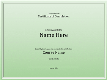 Course Of Study Of Study Pass Completion Certificate
