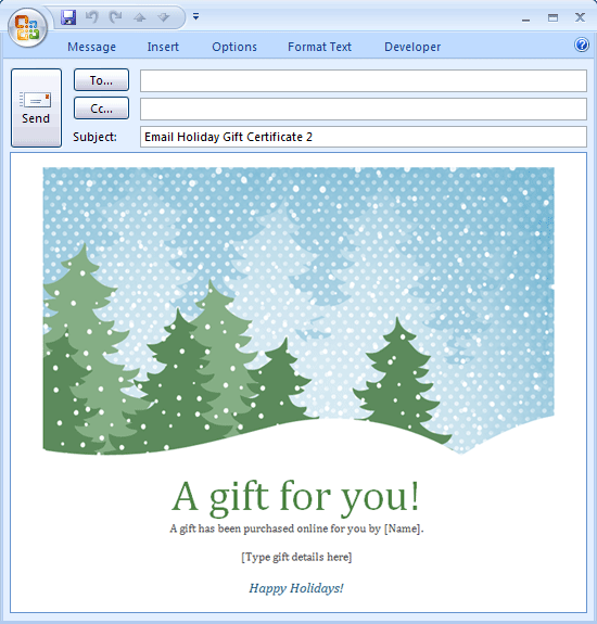 E-mail Message: Holiday Gift Certificate - Free ...