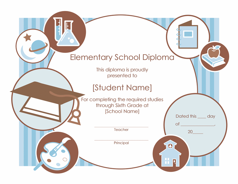 Elementary School Diploma Certificate Template Free