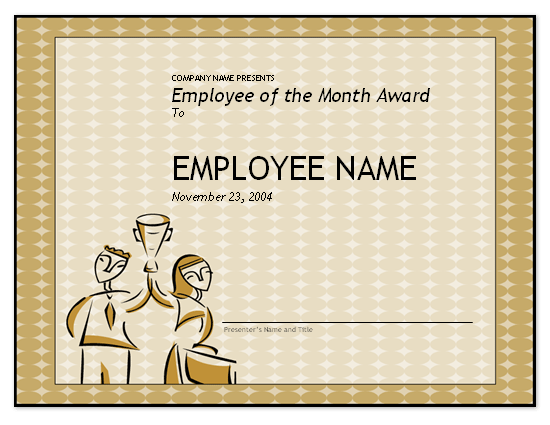 employee of the month certificate template - employee of the month award free certificate templates