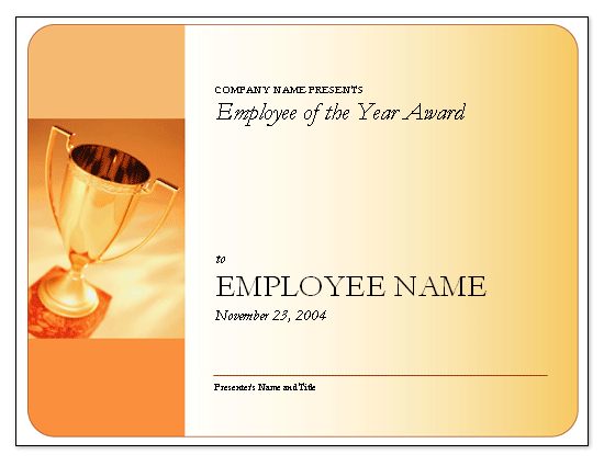 Employee Of The Year Award Free Certificate Templates In
