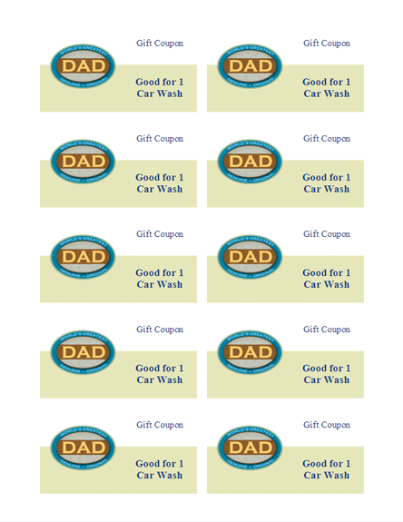 Download free father39s day gift coupons 10 sheet works for Avery templates 8873