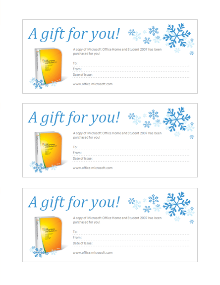 Gift Certificate For Microsoft Office Home And Student 2007